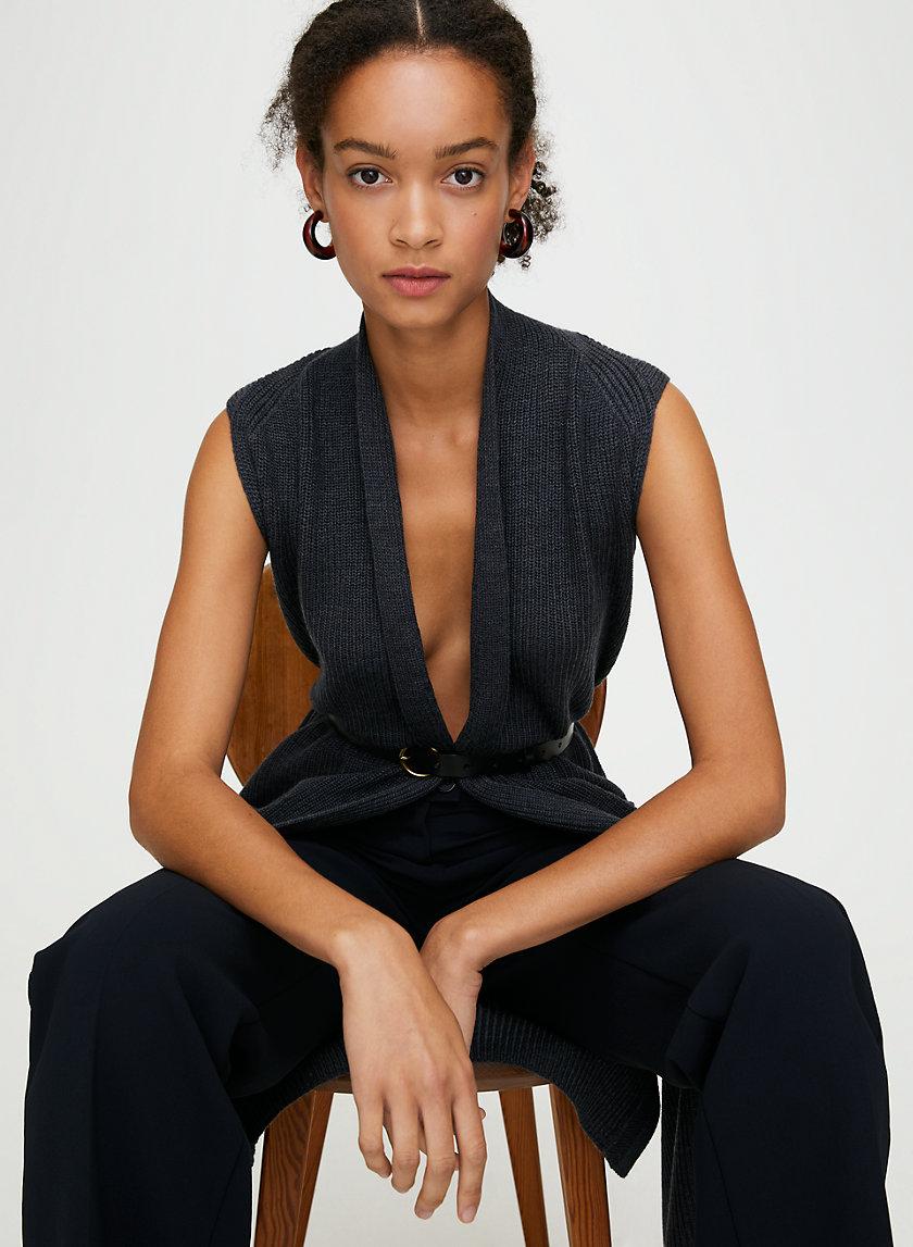 OLIVIE CARDIGAN - Long, merino-wool cardigan vest