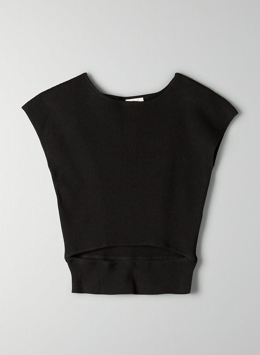 CUT-OUT KNIT TOP - Short-sleeve, cut-out knit top
