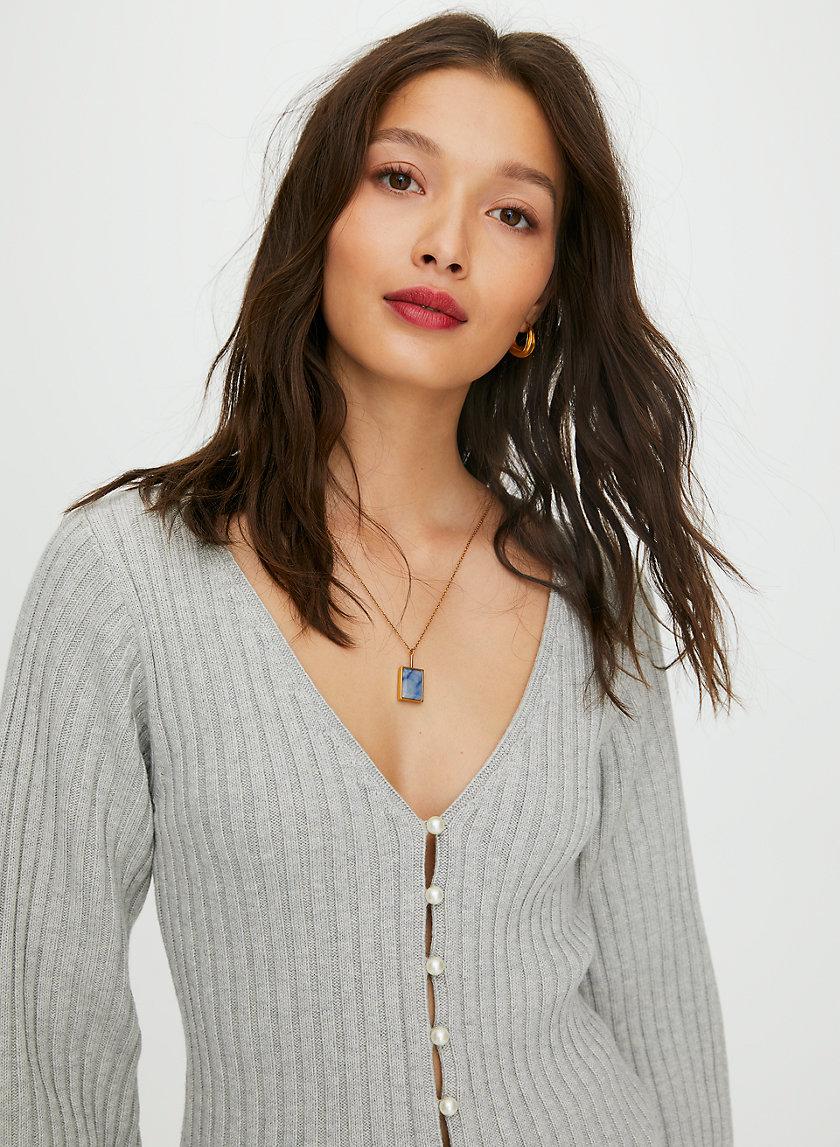 PEARL CARDIGAN - Deep V-neck cardigan