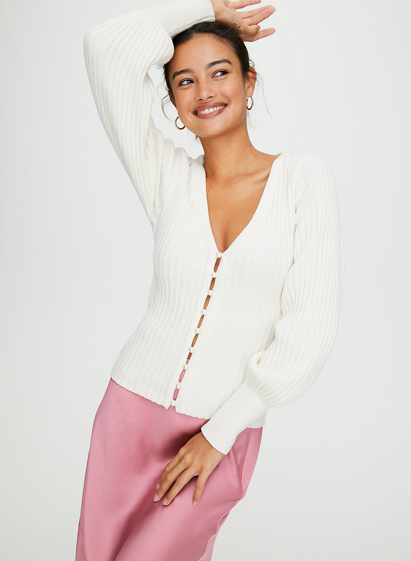 PEARL CARDIGAN - Deep V-neck cardigan