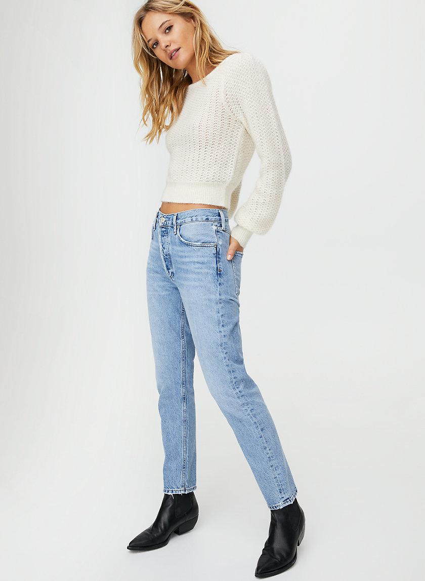 KATARINA SWEATER - Puff sleeve fuzzy sweater