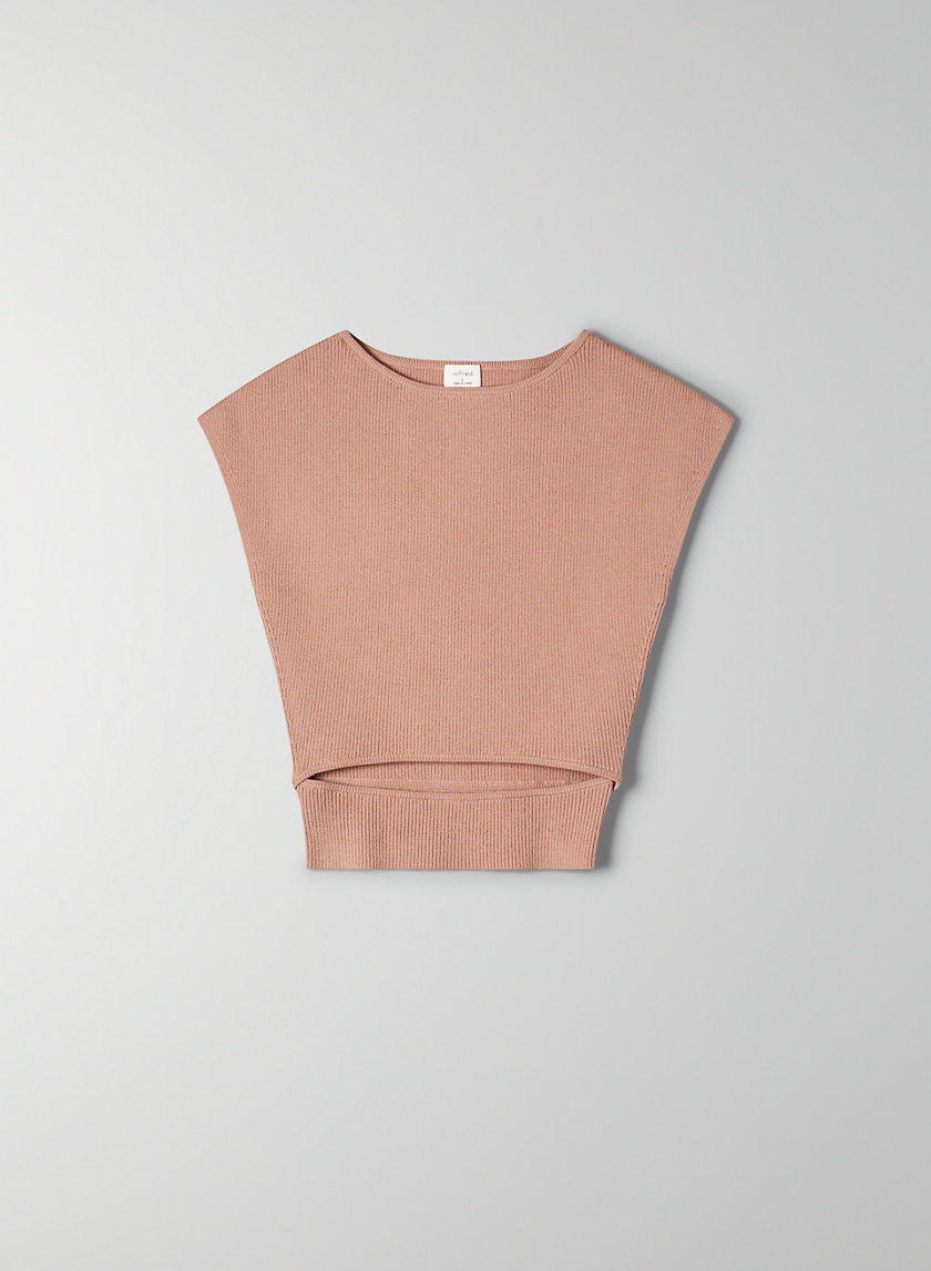 YACINE KNIT TOP - Short-sleeve, cut-out knit top