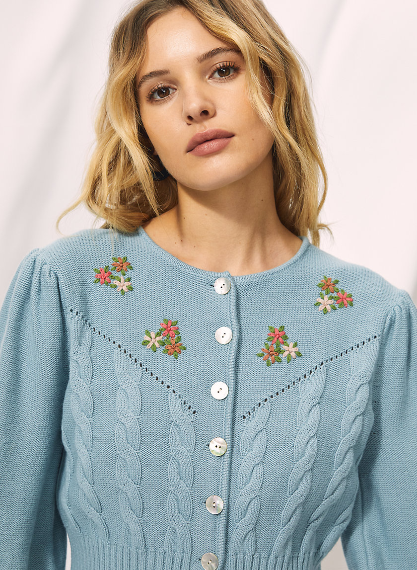 CANTO CARDIGAN - Embroidered wool cardigan