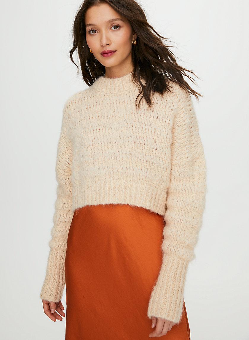 LUNE ALPACA SWEATER - Cropped, crewneck sweater