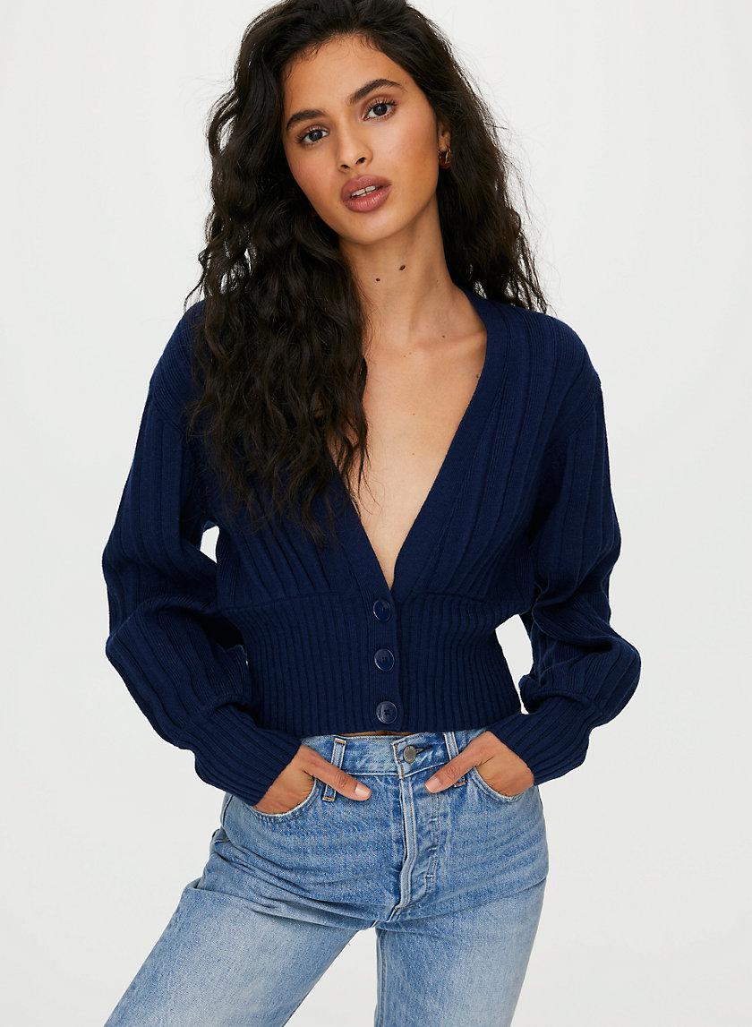 NEW PLUNGE FRONT CARDIGAN - Cropped deep v-neck cardigan