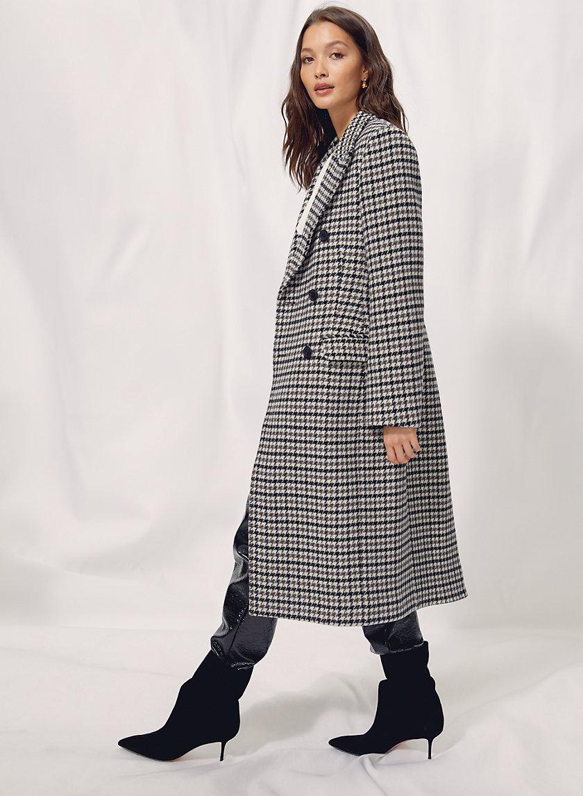 KERR WOOL COAT - Long houndstooth wool coat