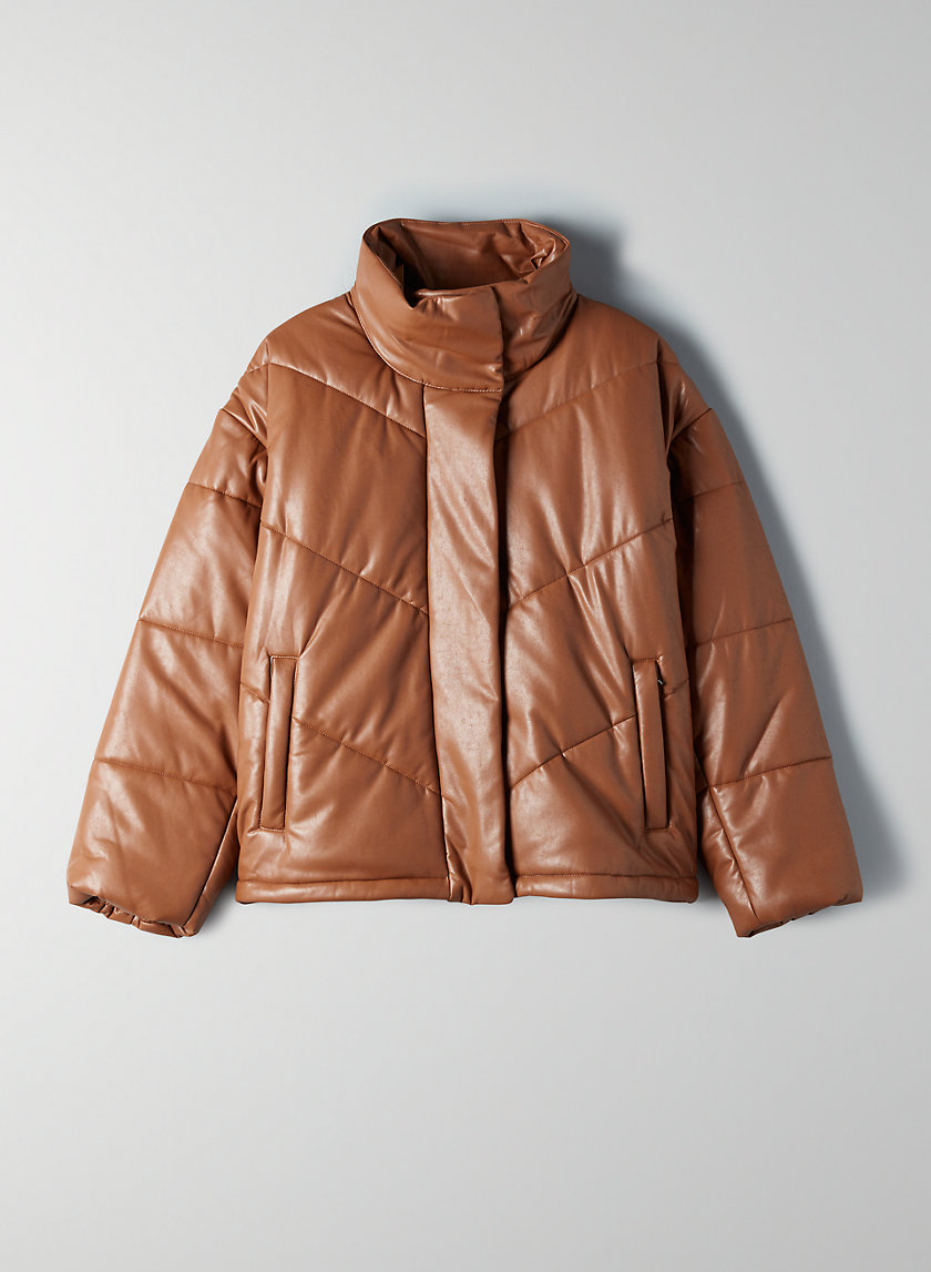 THE CLOUD PUFF - Faux-leather, vegan-filled puffer jacket
