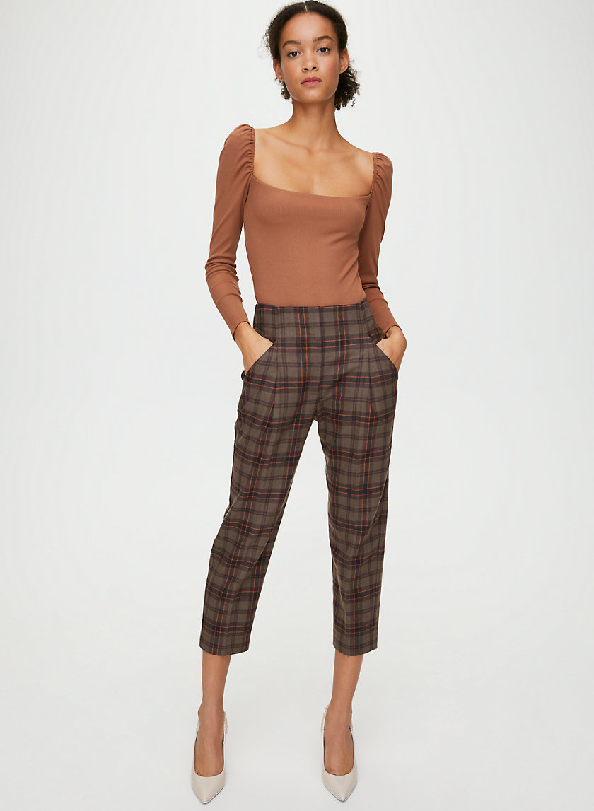CHAMBÉRY PANT - Cropped, pleated plaid pants
