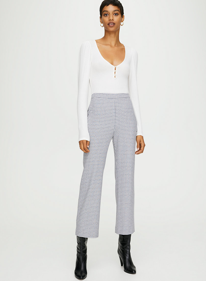KICK FLARE PANT - High-Waisted Gingham Pant