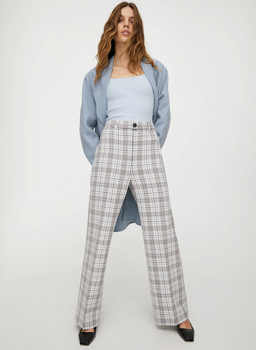 FRANCESCA CHECK PANT - High-waisted wide-leg plaid pant
