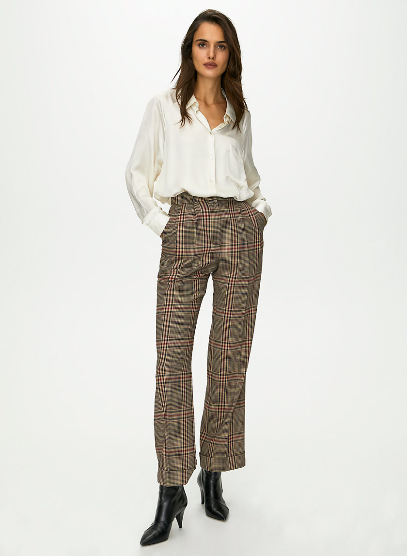 DAVITA CHECK PANT - Wool houndstooth trousers
