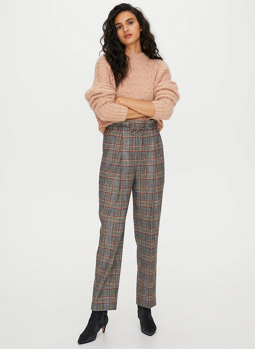 ALTO CHECK PANT - Check paper-bag waist trousers