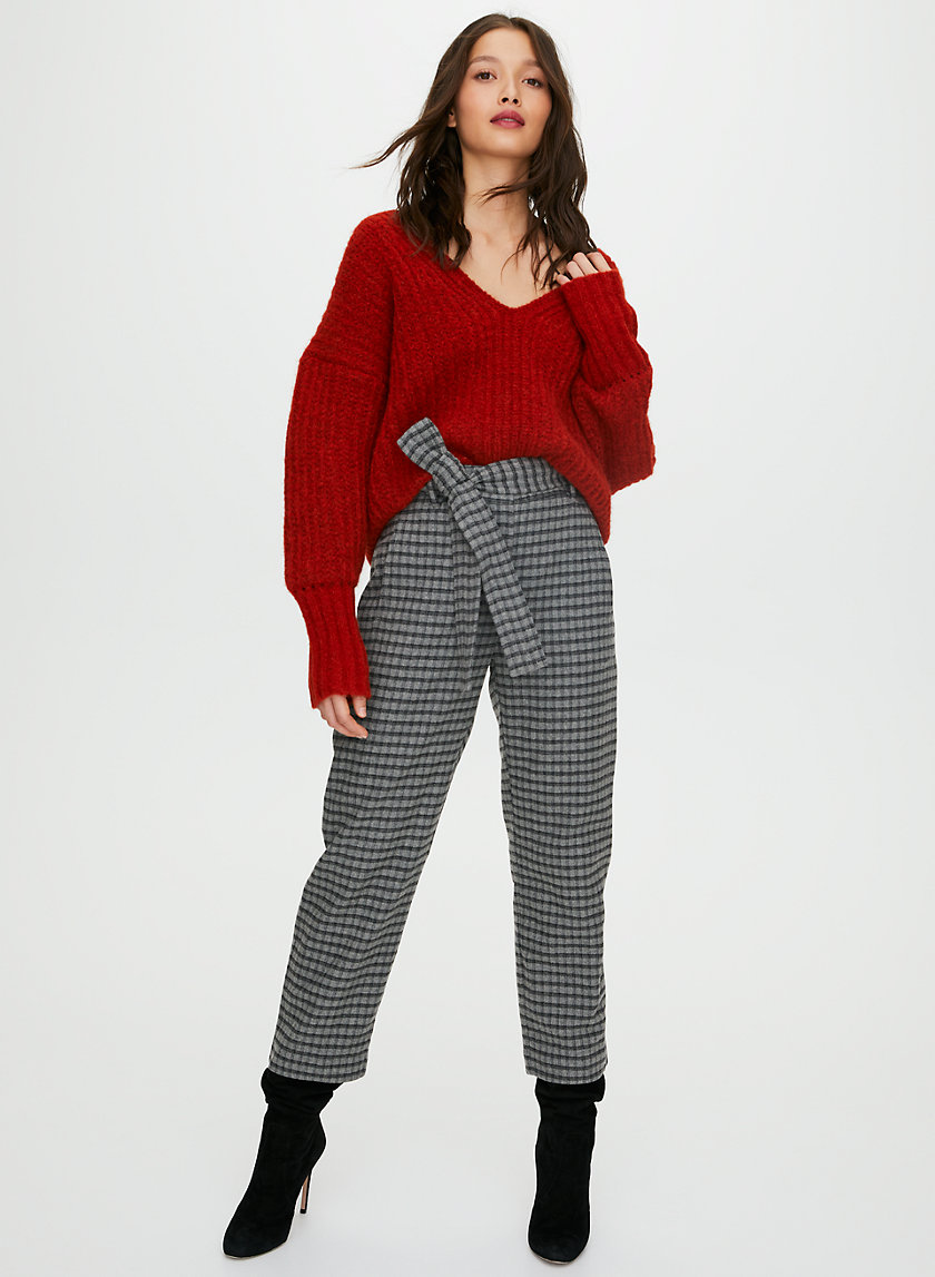 NEW TIE-FRONT WOOL PANT - Cropped high-waisted pants