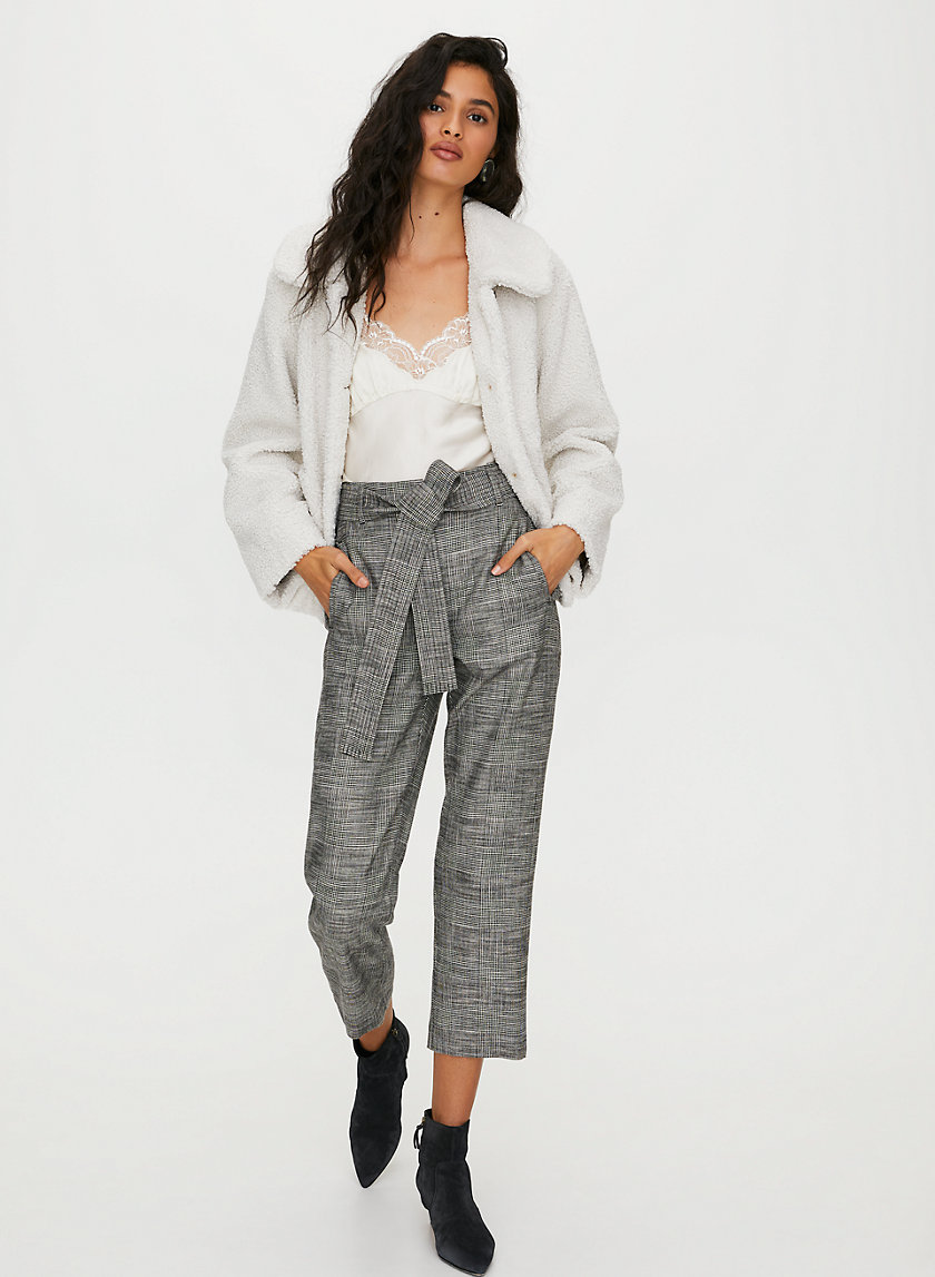 NEW TIE-FRONT CHECK PANT - Cropped high-waisted pants
