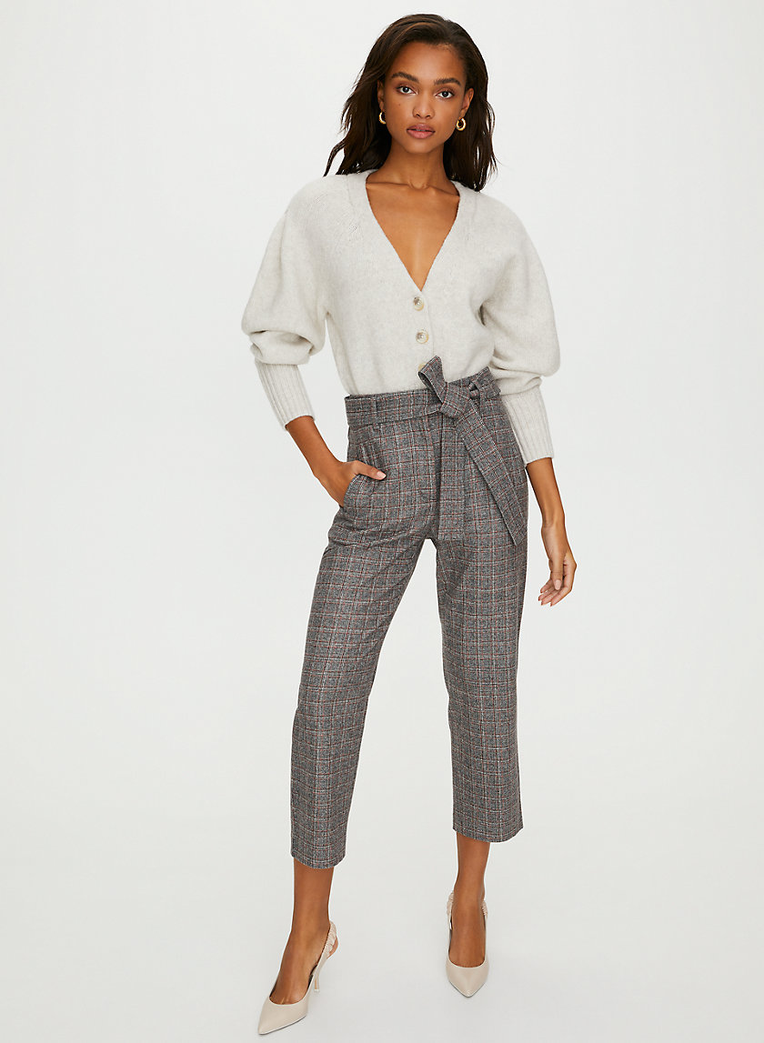 NEW TIE-FRONT WOOL PANT - High-waisted wool pants