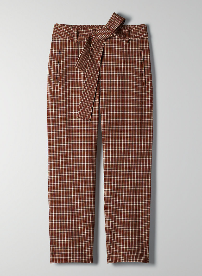 NEW TIE-FRONT CHECK PANT - Cropped checkered high-waisted pants