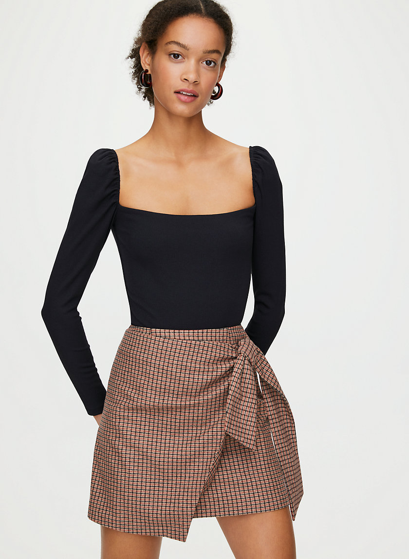 NEW WRAP FRONT SKIRT - Faux-wrap mini skirt