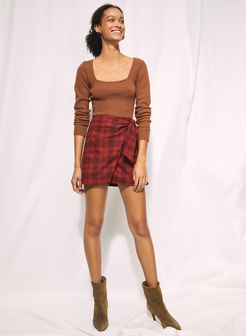 NEW WRAP FRONT SKIRT - Faux-wrap mini skirt
