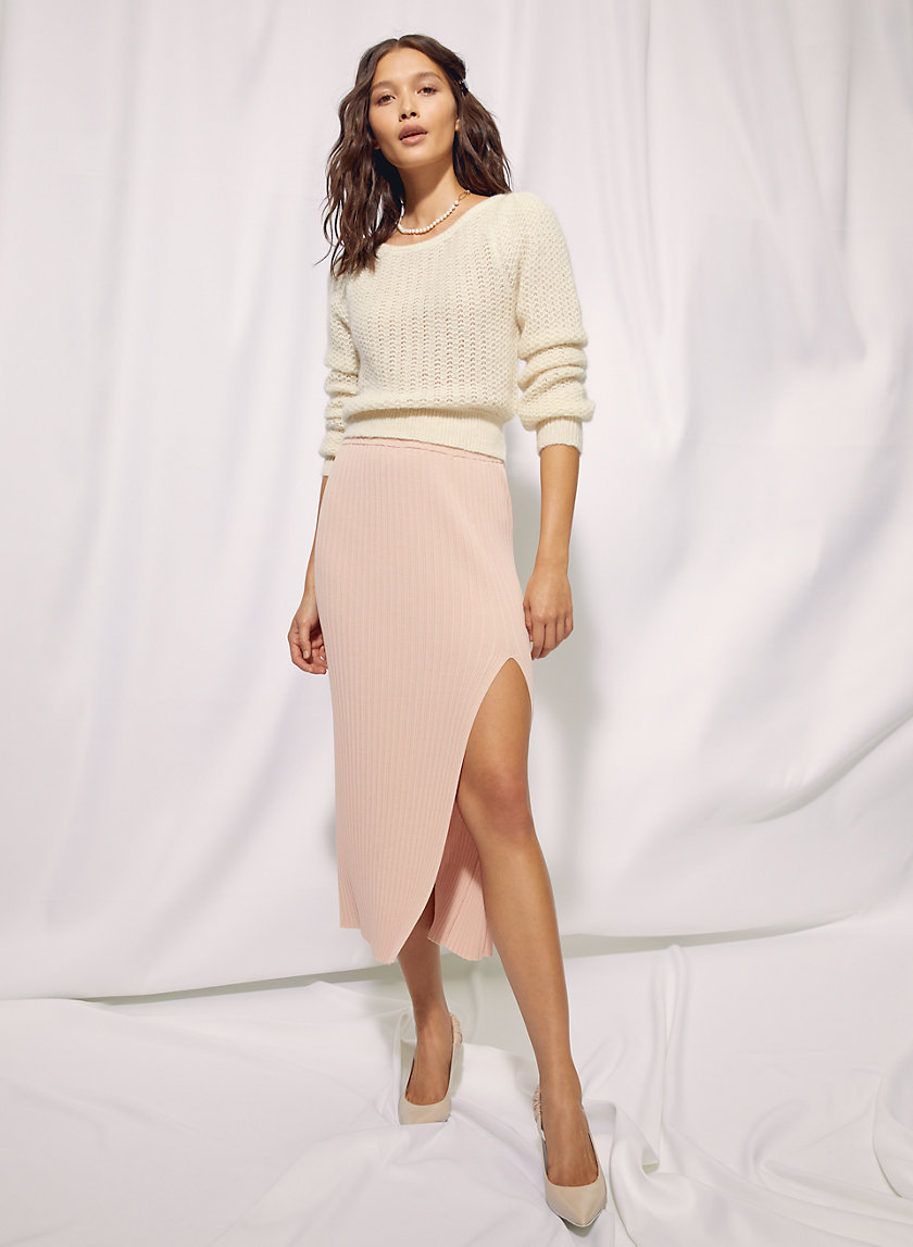 KNIT SLIT SKIRT - Knit slit skirt