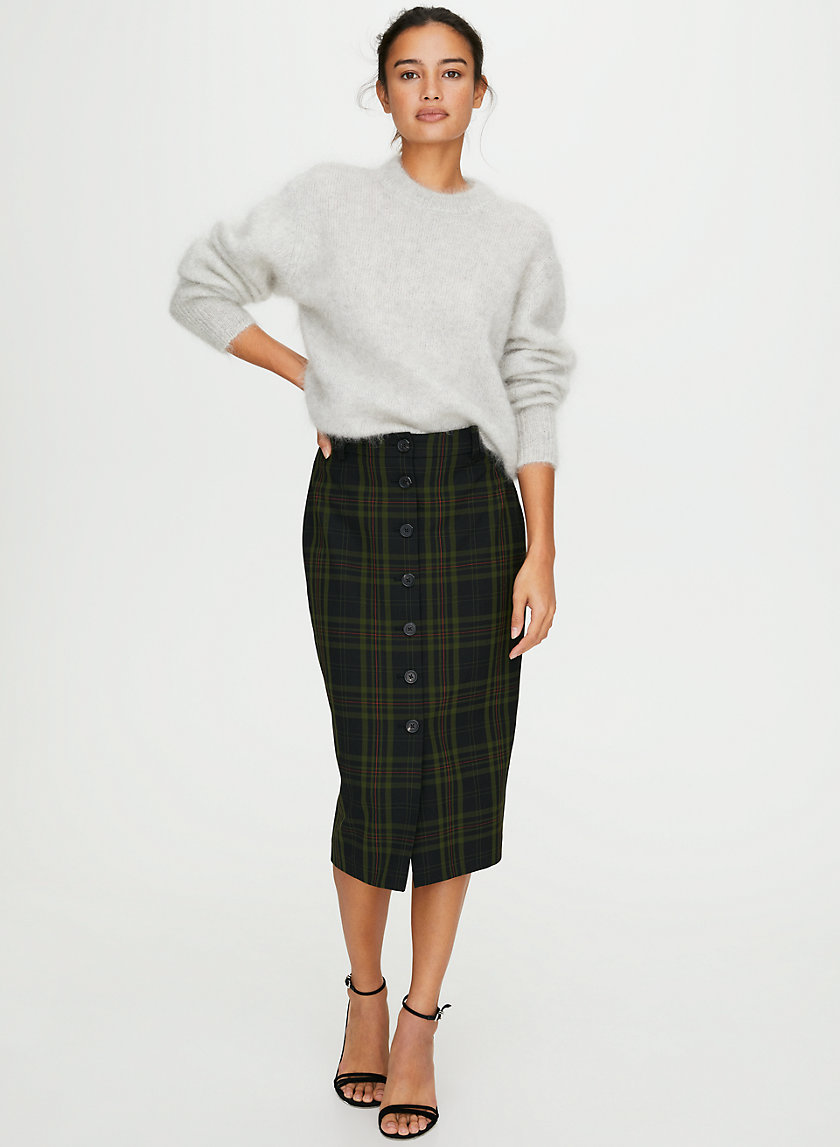 LEONA SKIRT - Button-front plaid pencil skirt