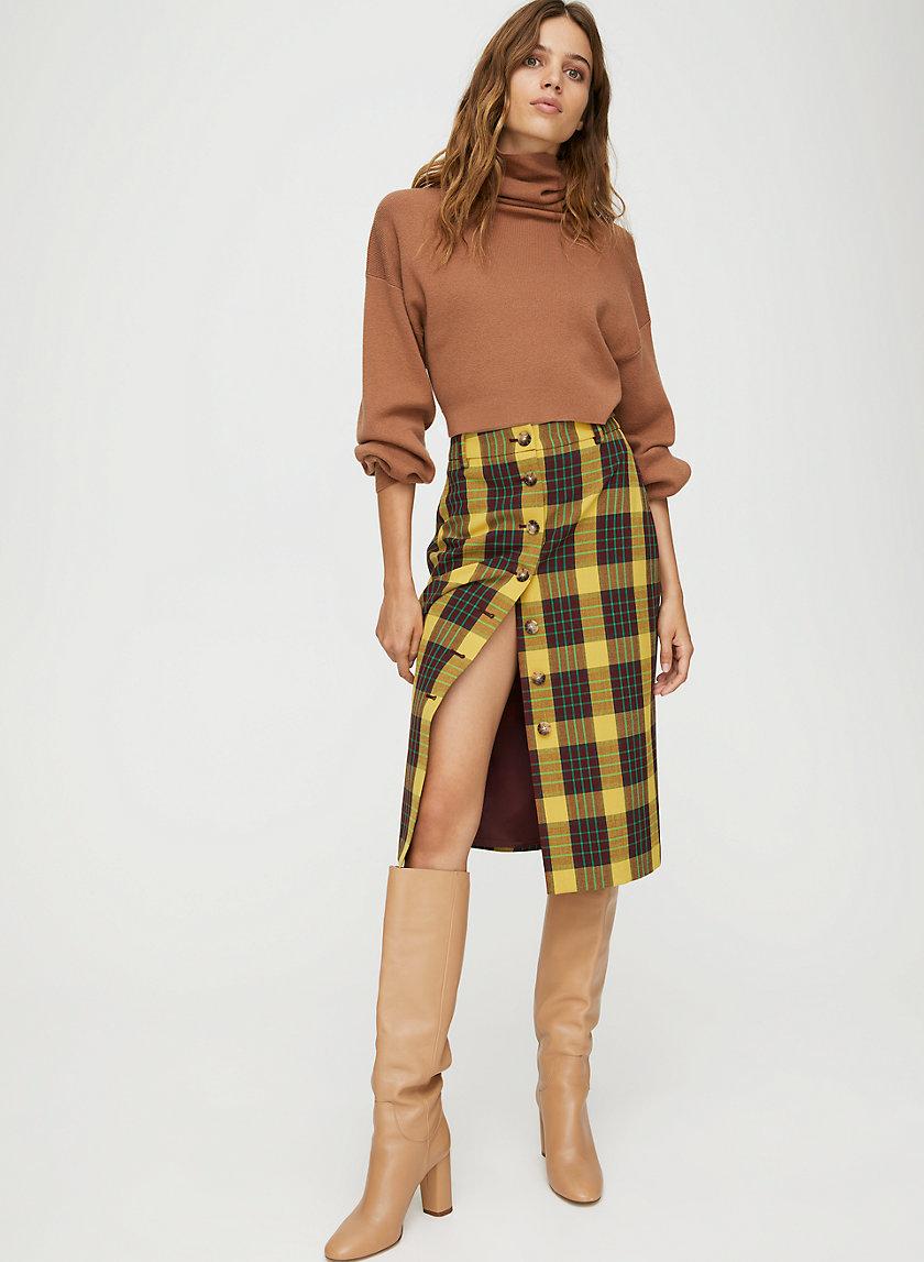 LEONA SKIRT - Button-front plaid pencil skirt