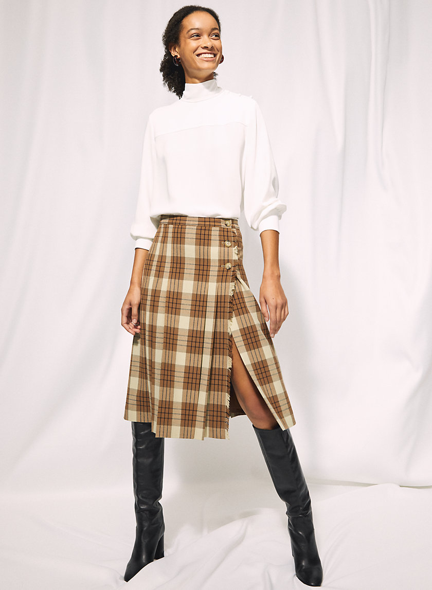 TRISSY CHECK SKIRT - Plaid midi skirt