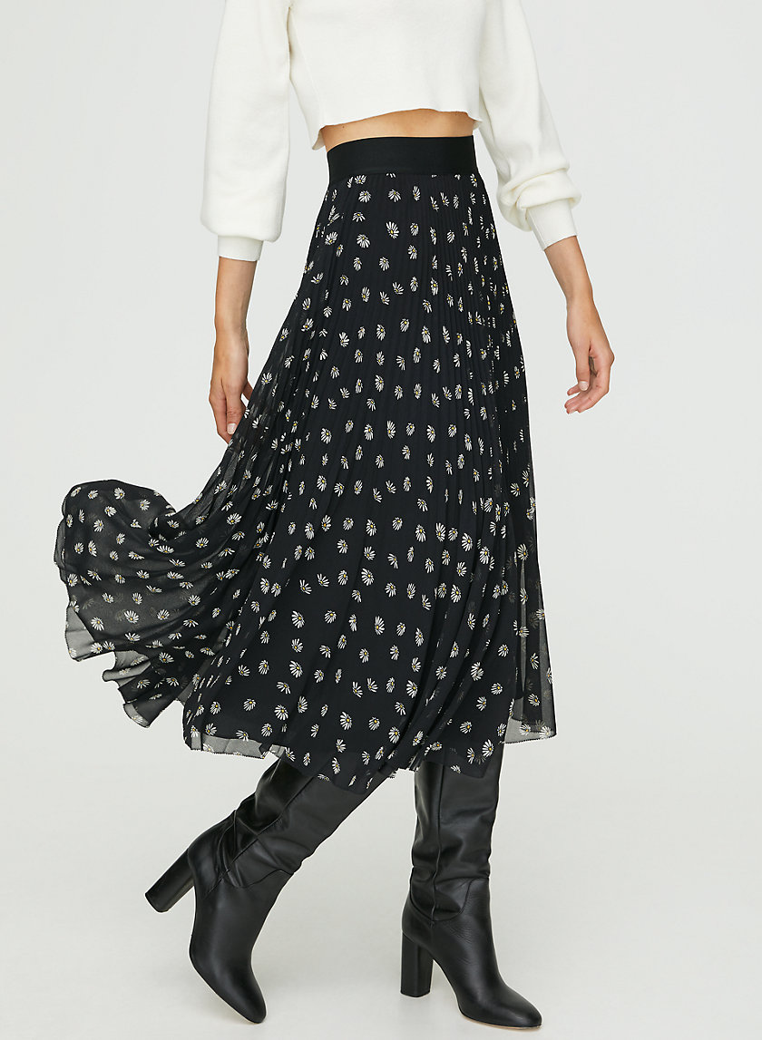 TWIRL SKIRT - Floral pleated midi skirt