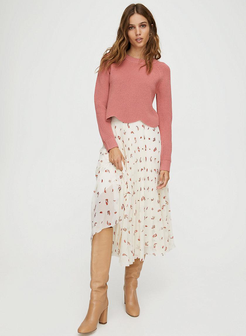 TWIRL SKIRT - Floral pleated midi skirt