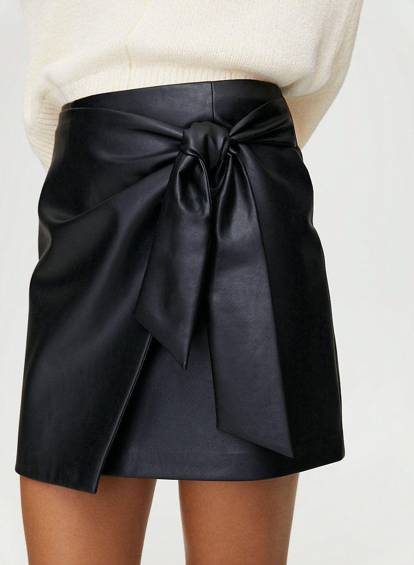 WRAP FRONT SKIRT - Faux-leather wrap skirt