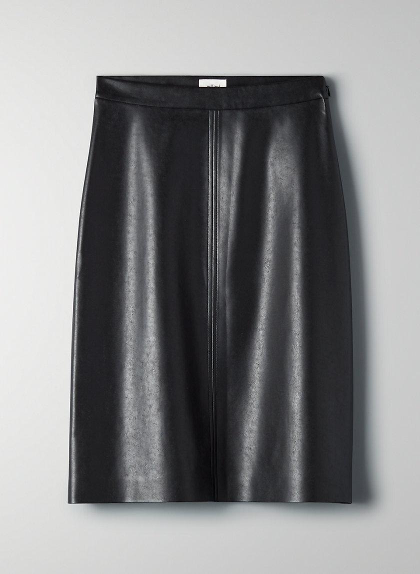 DIAMANTE SKIRT - Faux leather midi skirt