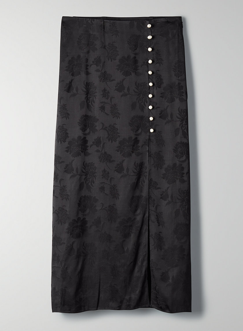 BAROQUE SKIRT - Side-slit, pearl-button skirt
