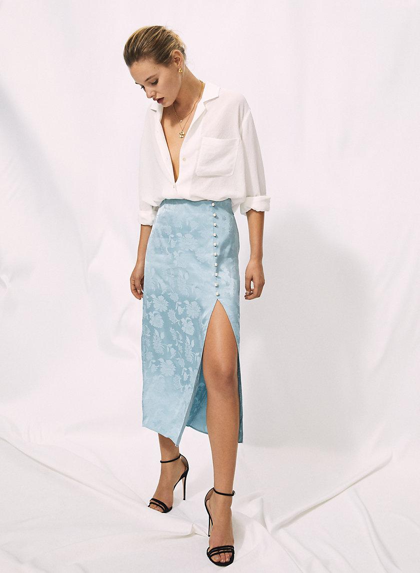 BAROQUE SKIRT - Side-slit, pearl-button skirt