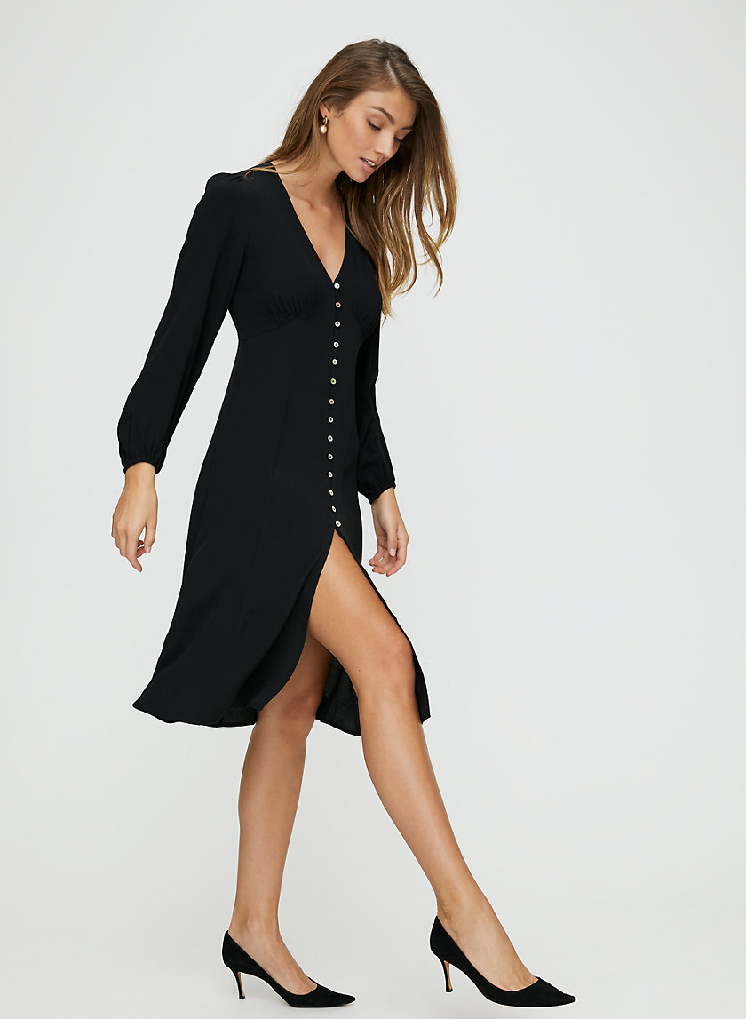 NEW GALLERY DRESS - Long-sleeve, button-front midi dress