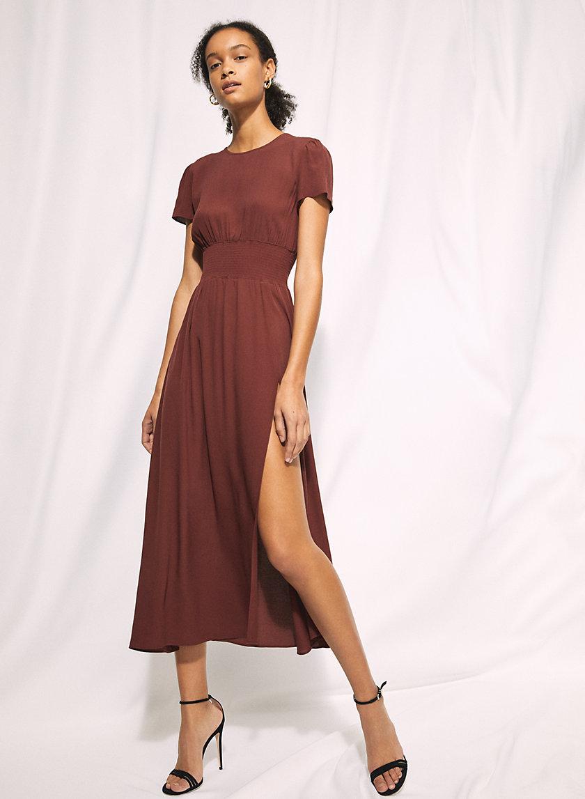 MAXIME DRESS - Puff-sleeve slit maxi dress
