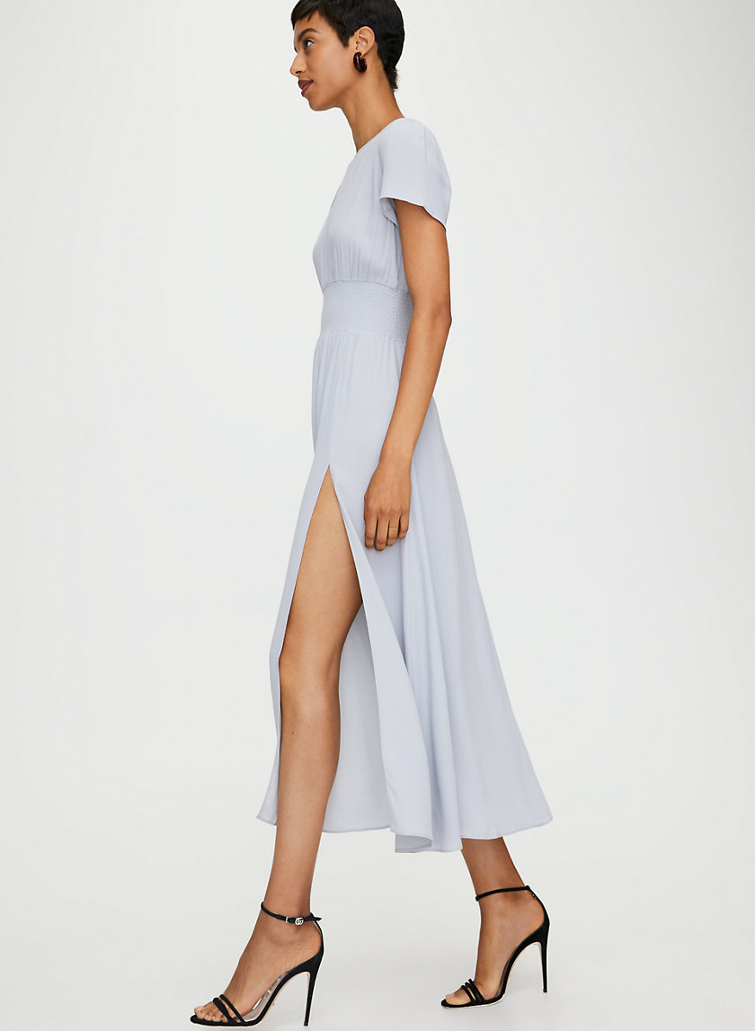 MAXIME DRESS - Puff-sleeve slit maxi dress