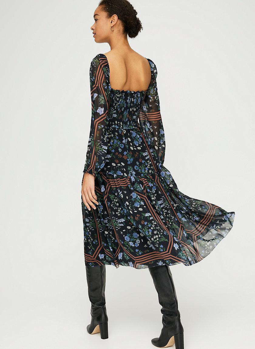 LAKEN DRESS - Long-sleeve chiffon dress
