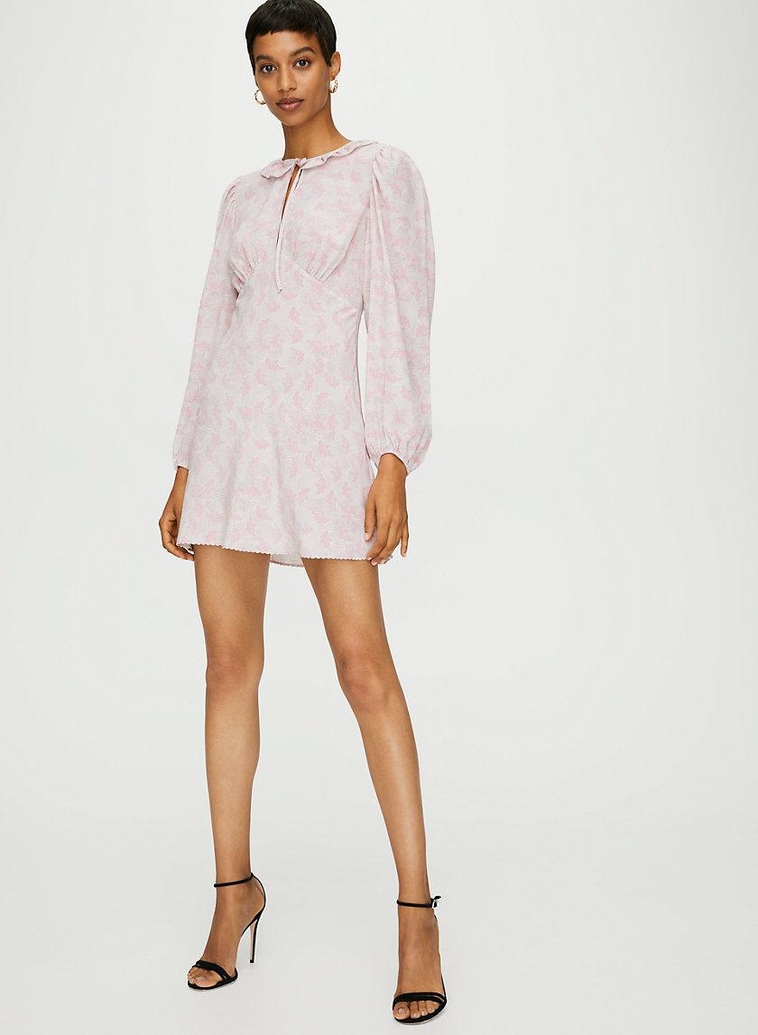 TRUDY DRESS - Long-sleeve silk dress