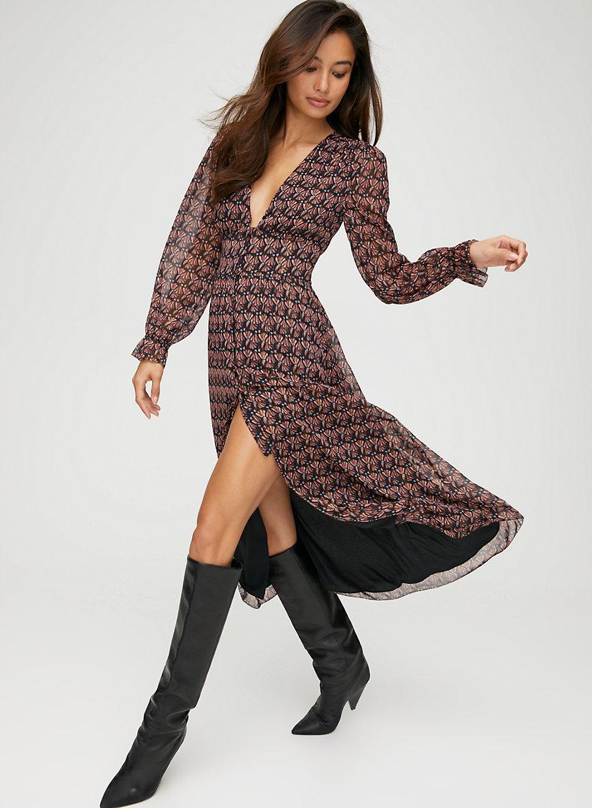MAXINE DRESS - Sheer long-sleeve dress