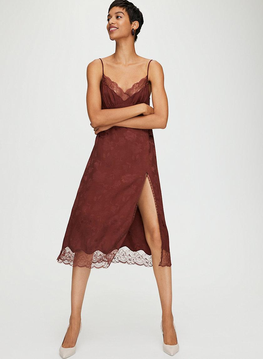 OPHELIA DRESS - Long, lace slip dress