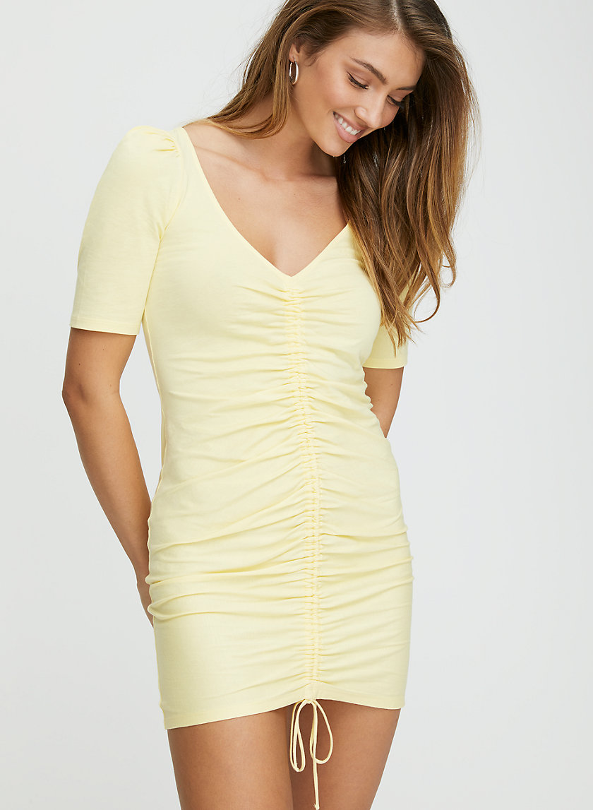 NISSA DRESS - Short sleeve mini-dress with ruching
