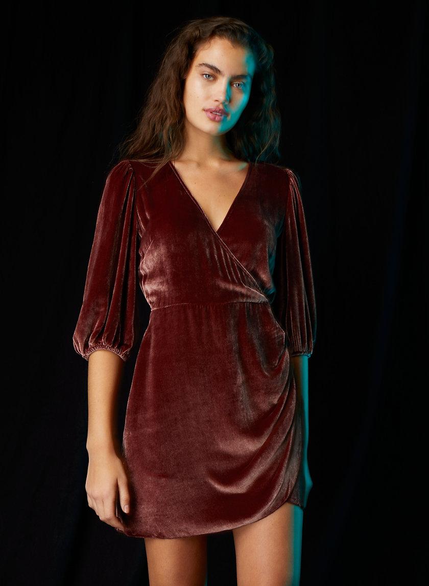 LYRIC VELVET DRESS - Velvet wrap mini dress