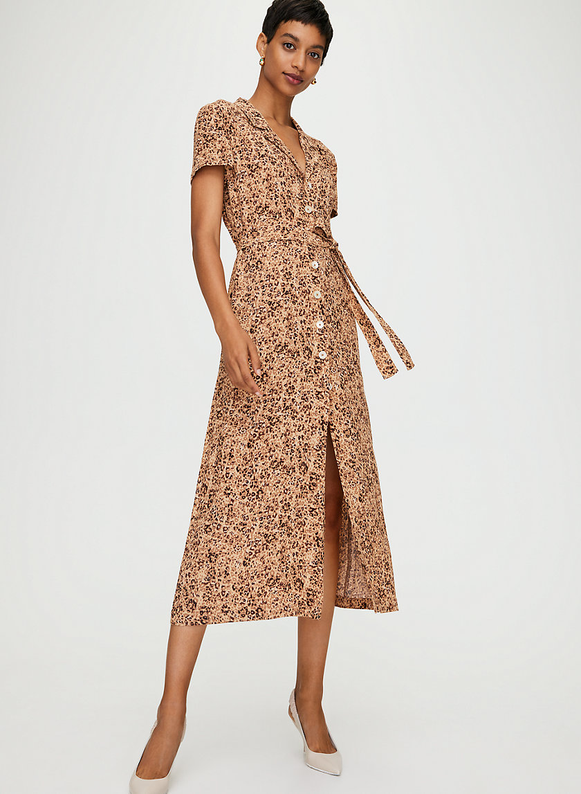 SHIRT DRESS - Leopard button-front dress