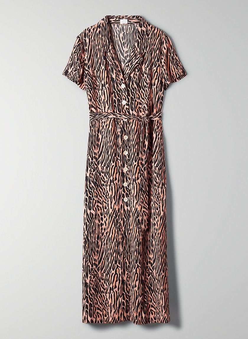 SHIRT DRESS - Patterned button-front dress