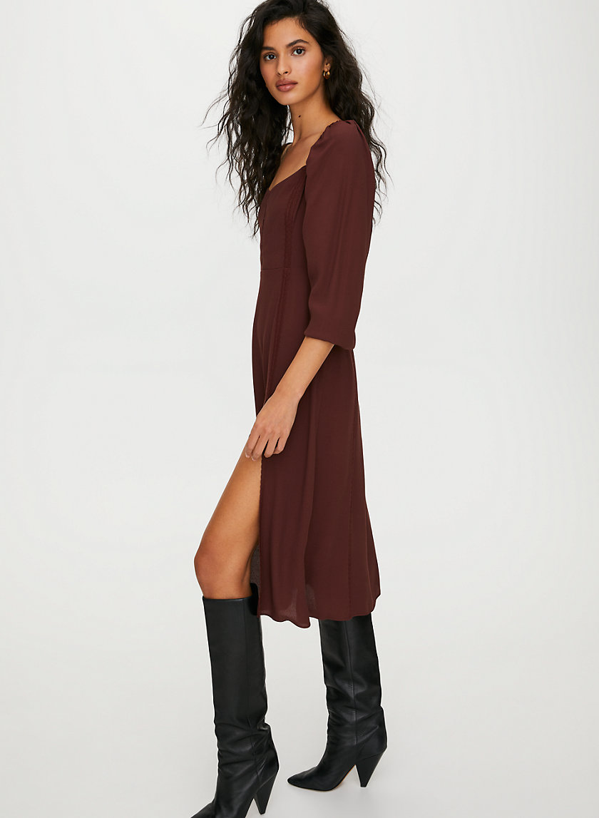 TROUBADOUR DRESS - Midi slit dress