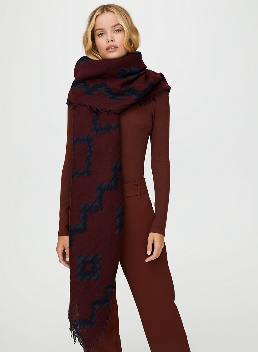 DIAMOND MOSAIC BLANKET SCARF - Patterned, wool blanket scarf