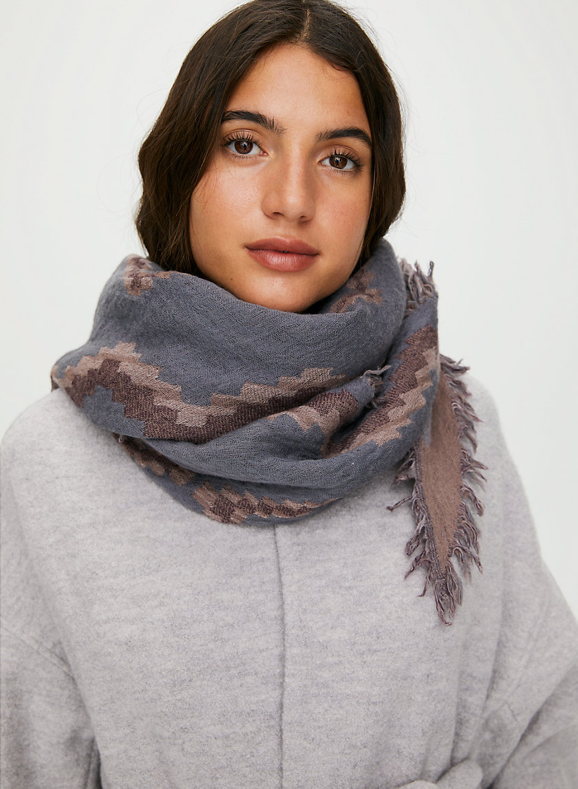 DIAMOND MOSAIC SCARF - Reversible, wool triangle scarf