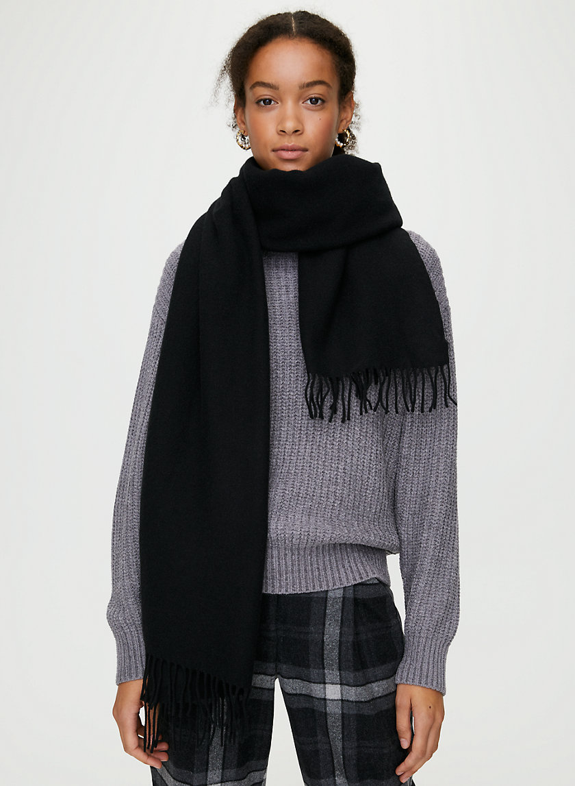 THE CLASSIC WOOL SCARF - Wide rectangle fringe scarf
