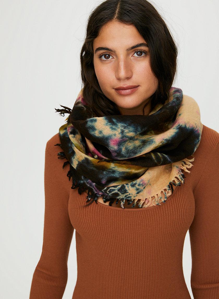 TIE-DYE WOOL SCARF - Tie-dye fringe scarf