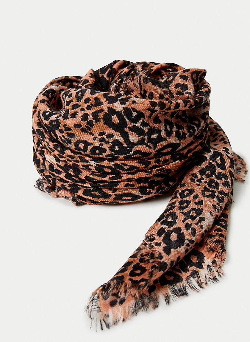 LEOPARD SCARF - Leopard fringe scarf