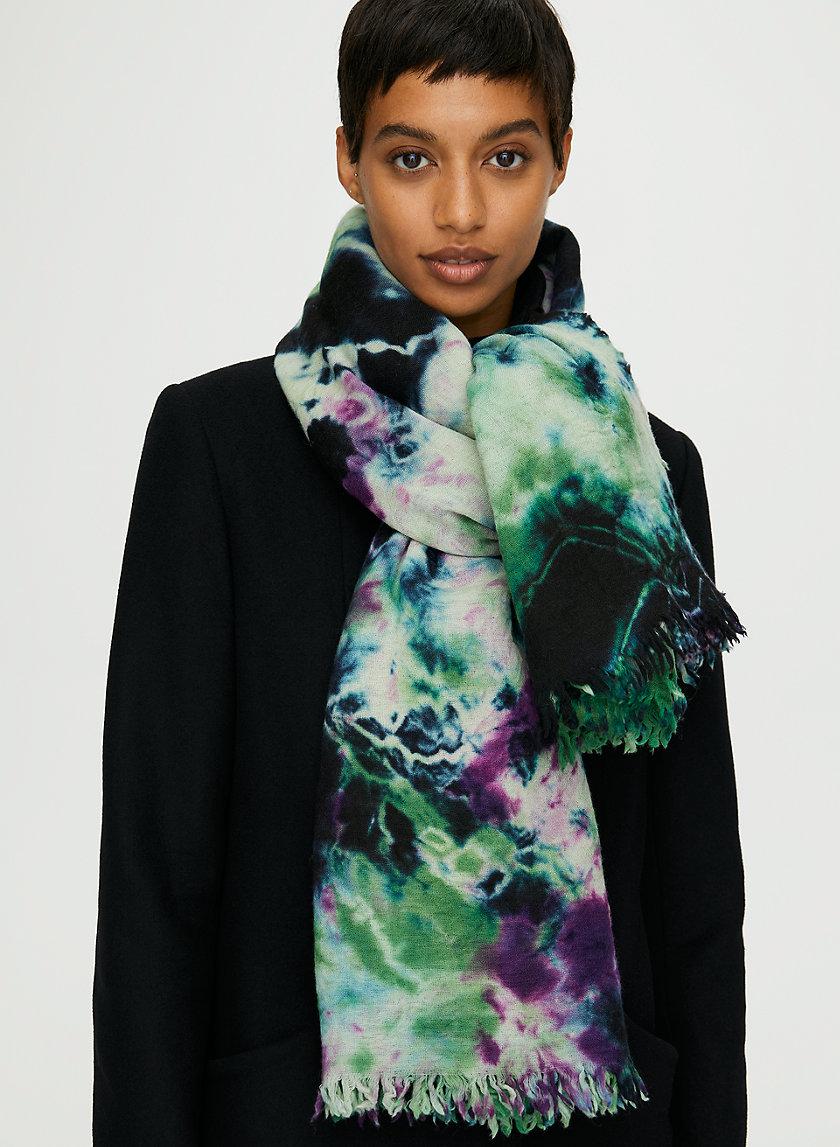 TIE-DYE WOOL BLANKET SCARF - Tie-dyed wool blanket scarf